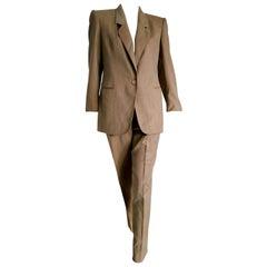 "Gianfranco FERRE ""New"" Light Brown Wool Jacket Pants Suit - Unworn"