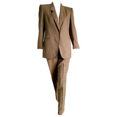 "Gianfranco FERRE ""New"" Light Brown Wool Jacket Pants Suit - Unworn"