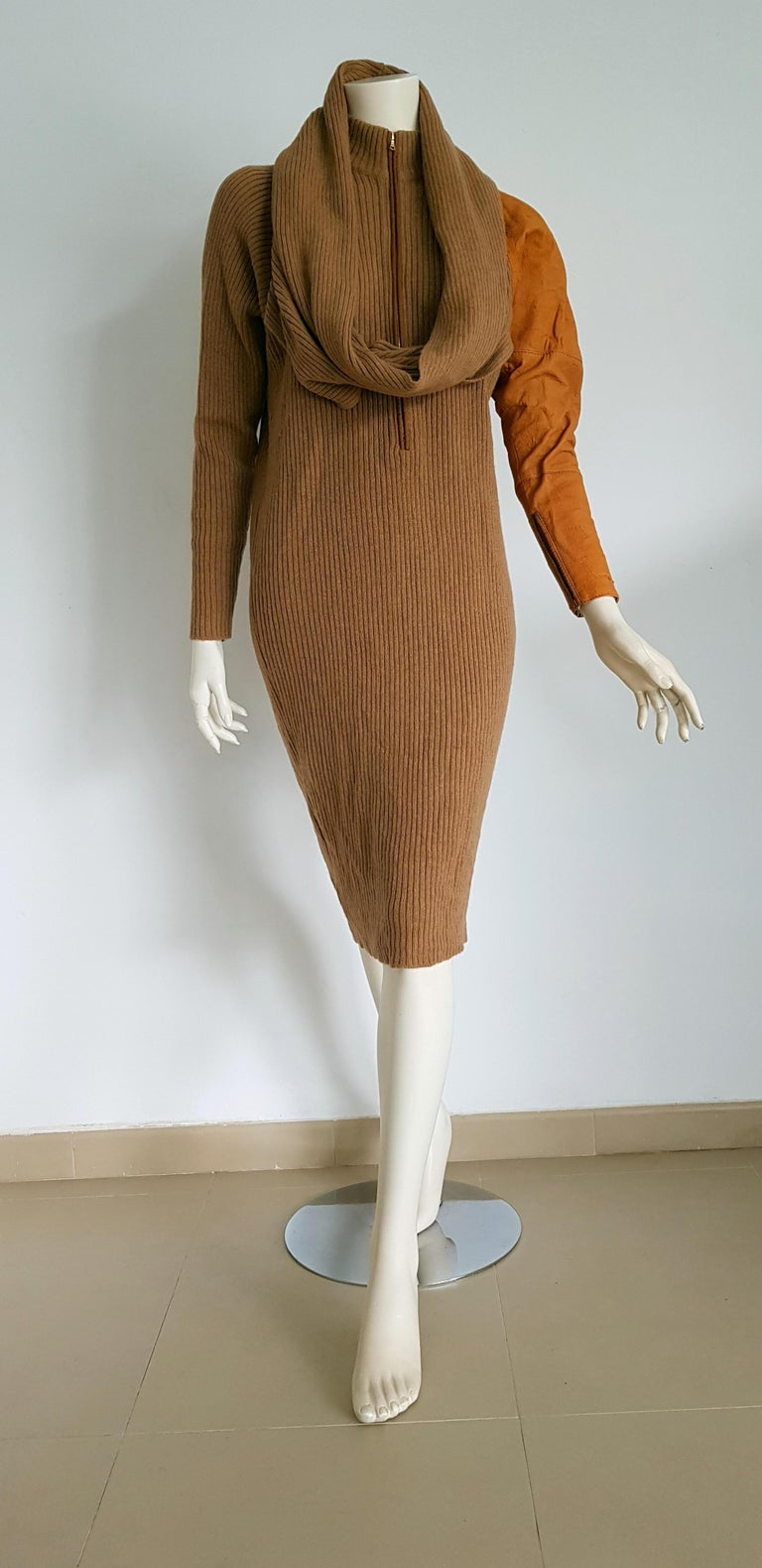 Gianfranco FERRE Couture, one deerskin sleeve, mesh camel dress. Scarf shaped as collar combined with the dress -  Unworn, New.    SIZE: equivalent to about Small / Medium, please review approx measurements as follows in cm: lenght 112, chest