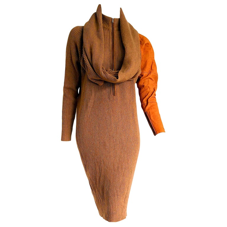 "Gianfranco FERRE ""New"" One Deerskin Sleeve Mesh Camel Dress - Unworn For Sale"