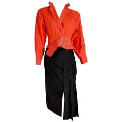 "Gianfranco FERRE ""New"" Single Piece Red Salmon Shirt Black Skirt Ensemble-Unworn"