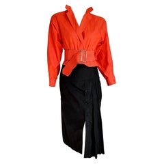 "Gianfranco FERRE ""New"" Single Piece Red Salmon Shirt Black Skirt Ensemble-Unworn"