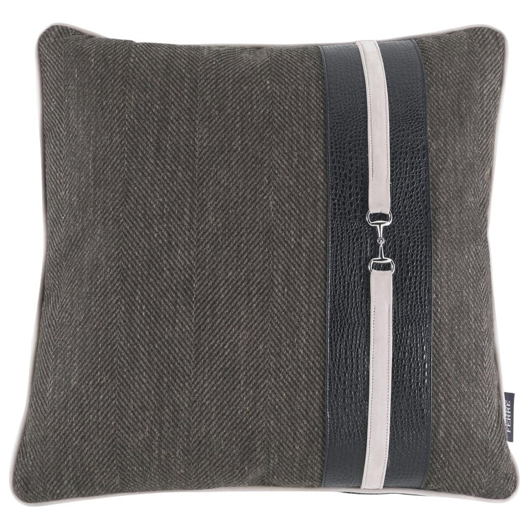 Gianfranco Ferré Noho Cushion in Fabric and Leather For Sale