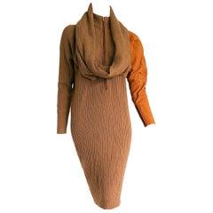 Gianfranco FERRE one deerskin sleeve mesh knitwear camel dress - Unworn