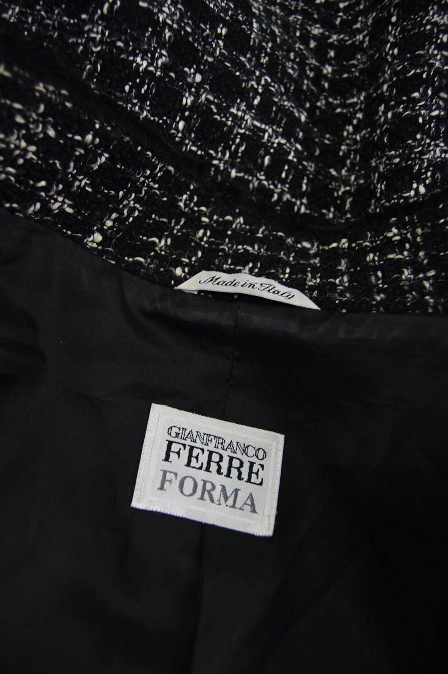 83f7a166464 Gianfranco Ferre Persian Lamb Trim Black and White Bouclé Plus Size Jacket