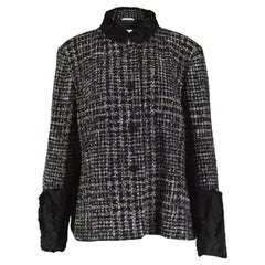 Gianfranco Ferre Persian Lamb Trim Black & White Bouclé Plus Size Jacket, 1990s