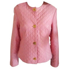 Gianfranco Ferre Petal Pink Quilted Lambskin Leather Jacket EU 38/ US 4 6