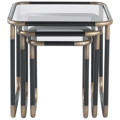 Gianfranco Ferré Pigneto Side Table in Metal and Glass Top