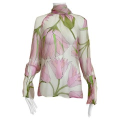 Gianfranco Ferre Pink and White Floral Print Silk Blouse