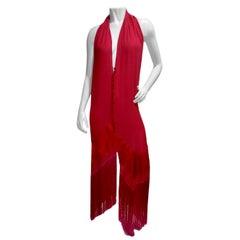Gianfranco Ferrè Pink two-tone Fringe Silk Duster Dress
