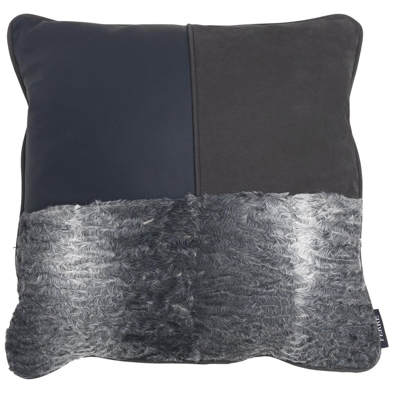 Gianfranco Ferré Precious, 3 Cushion in Leather and Velvet For Sale