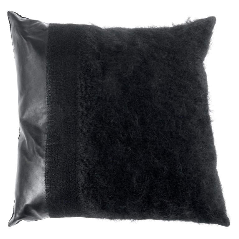 Gianfranco Ferré Precious Black Cushion in Mohair and Leather For Sale