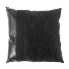 Gianfranco Ferré Precious Pillow in Black Leather with Mohair