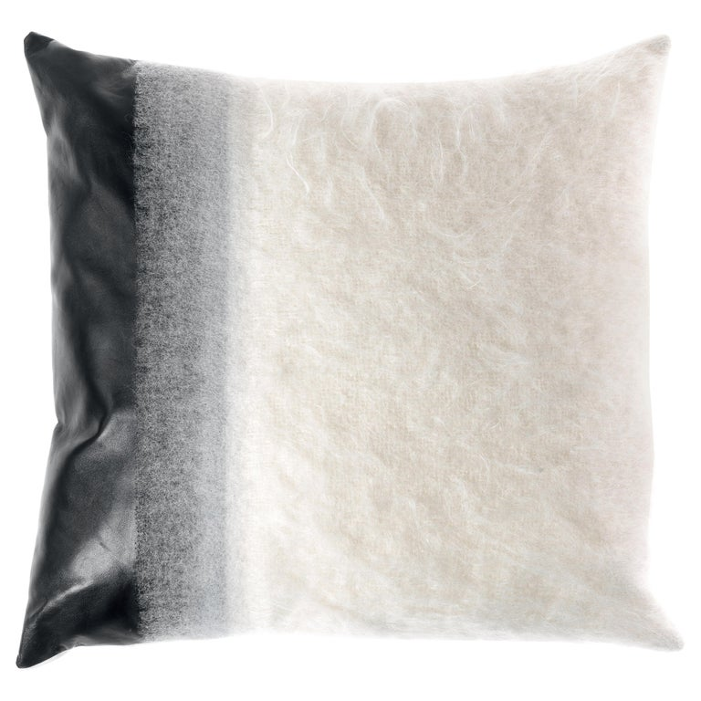 Gianfranco Ferré Precious White Cushion in Mohair and Leather For Sale