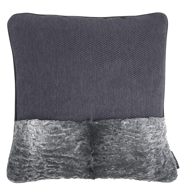Gianfranco Ferré Precious_2 Cushion in Leather and Velvet For Sale