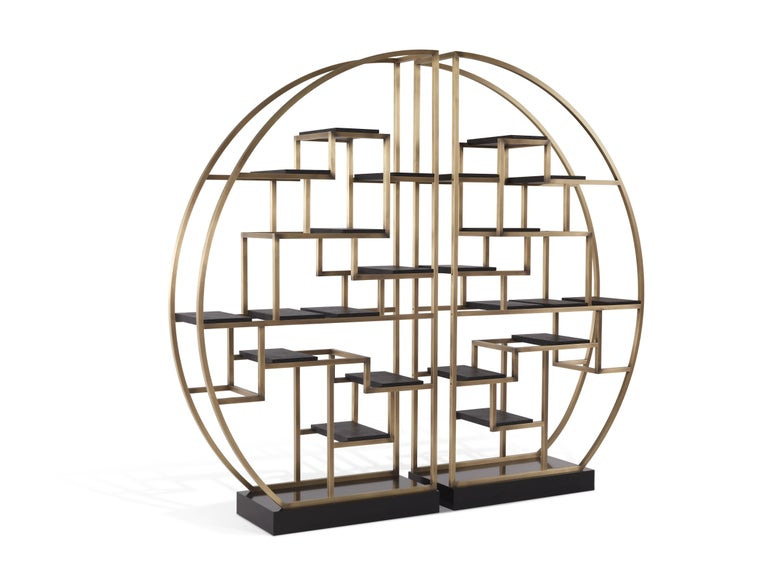 Gianfranco Ferré Psyco Bookcase in Brass with Leather Upholstery For Sale 2