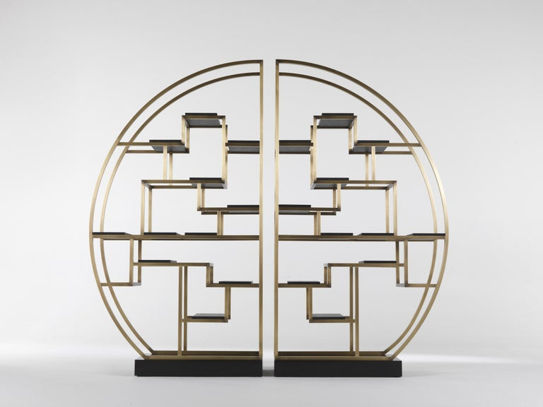 Gianfranco Ferré Psyco Bookcase in Brass with Leather Upholstery For Sale 4
