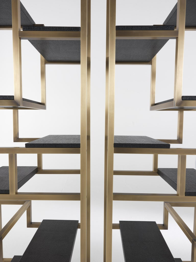 Gianfranco Ferré Psyco Bookcase in Brass with Leather Upholstery For Sale 7