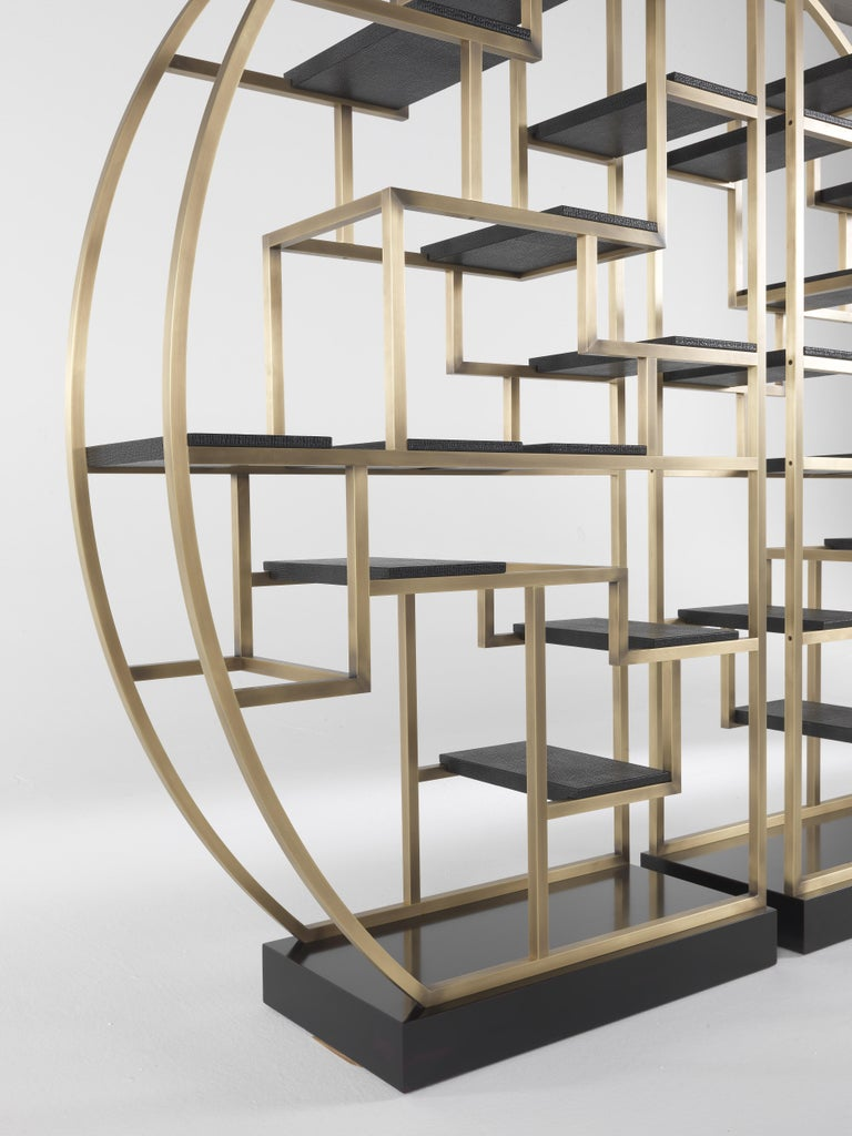 Gianfranco Ferré Psyco Bookcase in Brass with Leather Upholstery For Sale 8