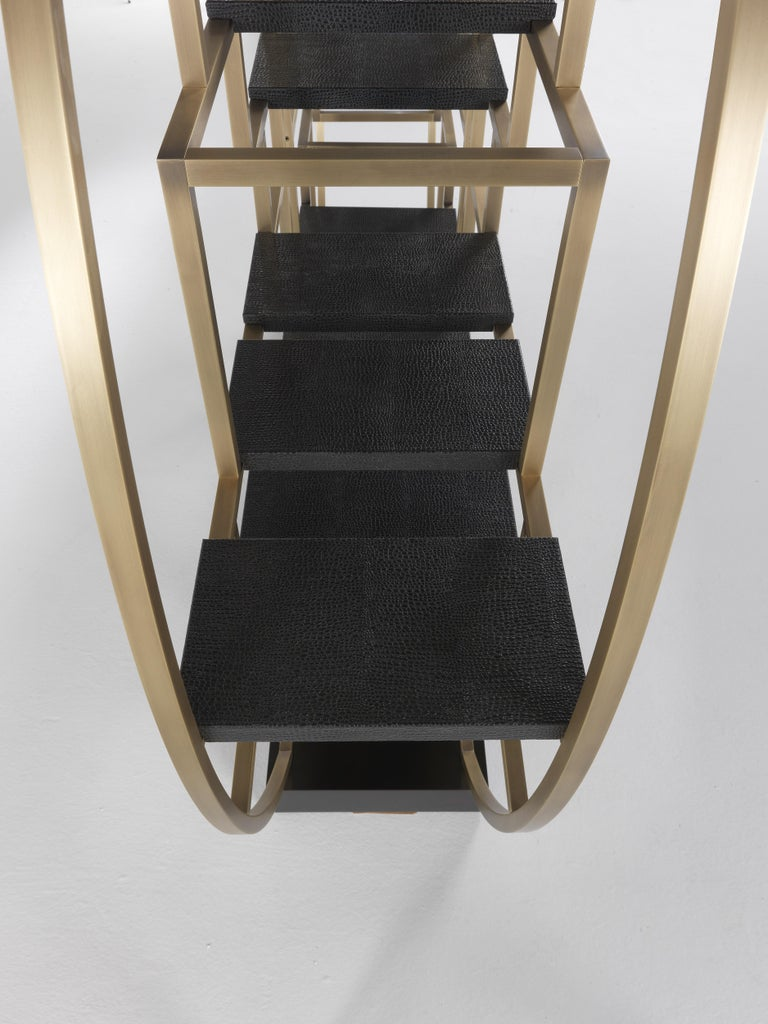 Gianfranco Ferré Psyco Bookcase in Brass with Leather Upholstery For Sale 9