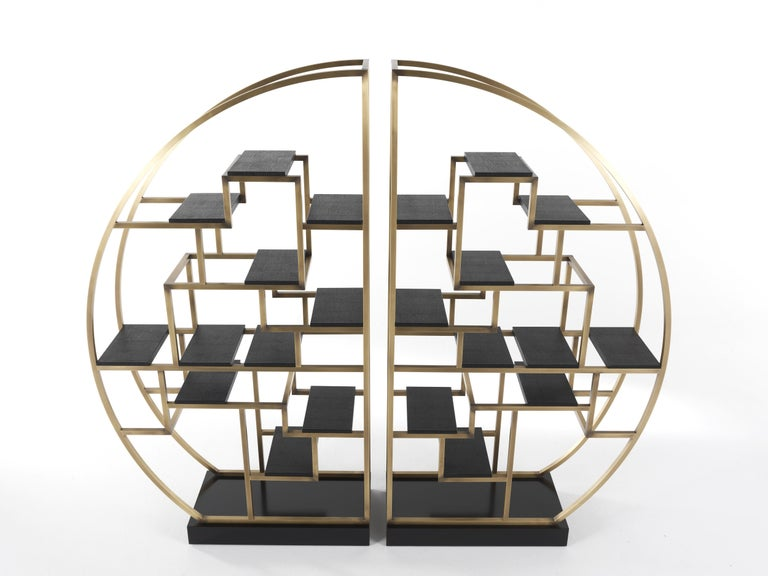 Modern Gianfranco Ferré Psyco Bookcase in Brass with Leather Upholstery For Sale