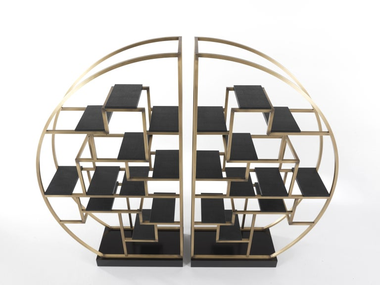 Italian Gianfranco Ferré Psyco Bookcase in Brass with Leather Upholstery For Sale