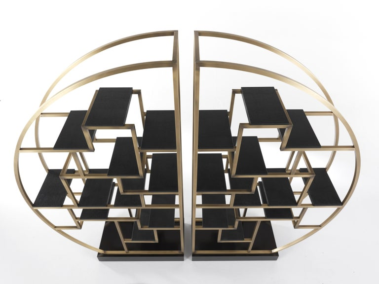 Lacquered Gianfranco Ferré Psyco Bookcase in Brass with Leather Upholstery For Sale