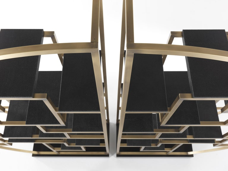 Gianfranco Ferré Psyco Bookcase in Brass with Leather Upholstery In New Condition For Sale In Cantu, IT