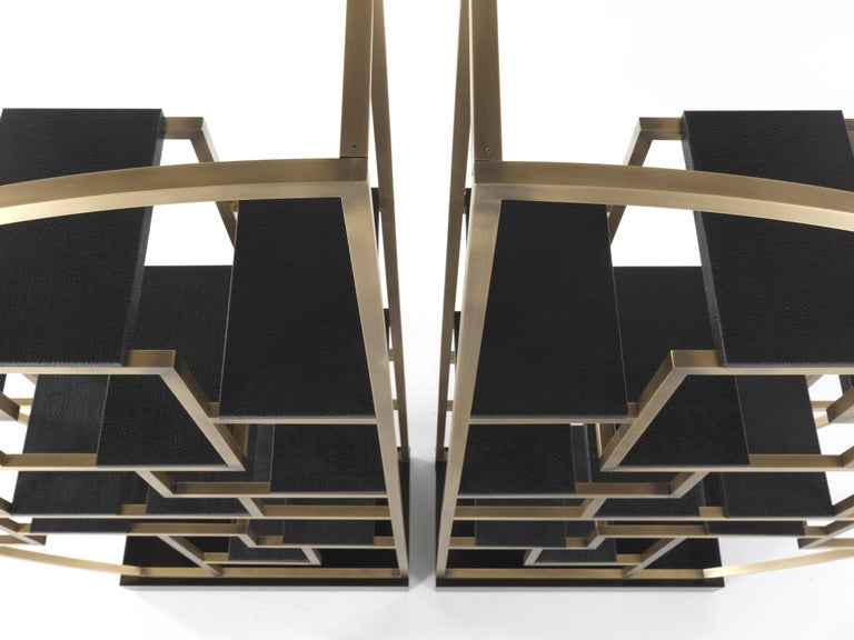 Contemporary Gianfranco Ferré Psyco Bookcase in Brass with Leather Upholstery For Sale