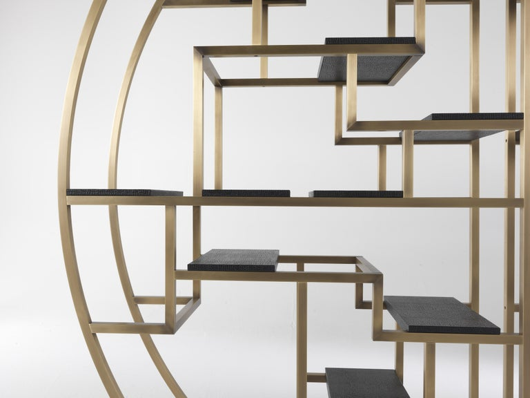 Wood Gianfranco Ferré Psyco Bookcase in Brass with Leather Upholstery For Sale