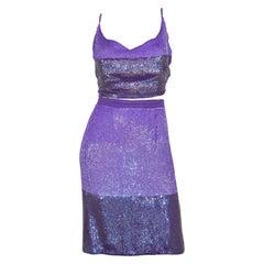 GianFranco Ferre Purple Sequin Skirt with Top Set