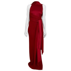 Gianfranco Ferre Red Jersey Satin Gown