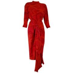 Gianfranco FERRÉ red silk dress with skirt-foulard - Unworn