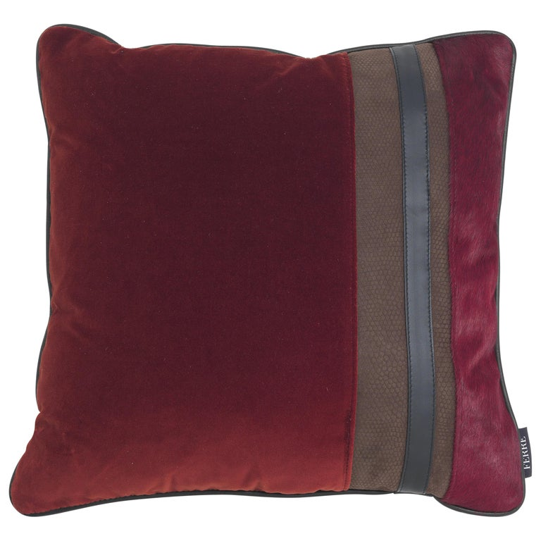 Gianfranco Ferré Road_1 Cushion in Velvet and Leather For Sale