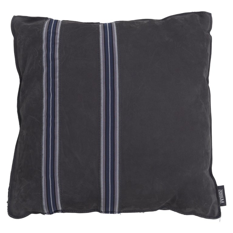 Gianfranco Ferré Road_2 Cushion with Leather Bands For Sale