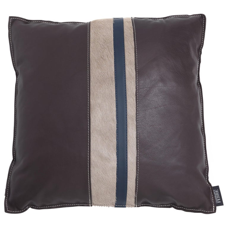 Gianfranco Ferré Road_3 Cushion with Leather Bands For Sale