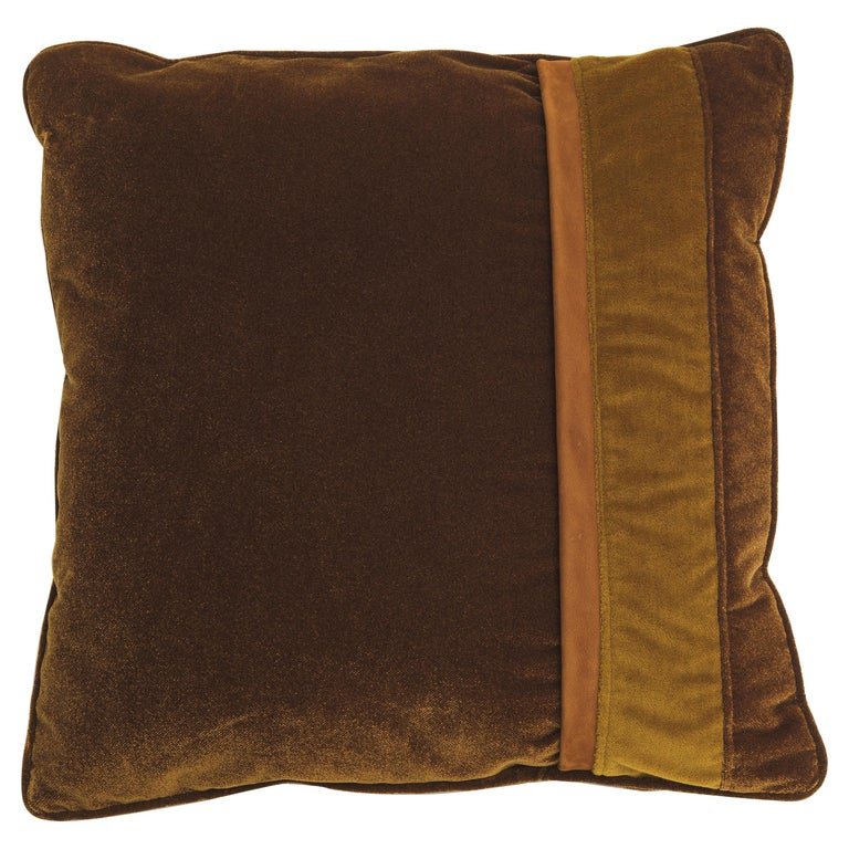 Gianfranco Ferré Road_4 Cushion in Velvet and Leather For Sale