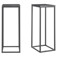 Gianfranco Ferré Home Ross Tall Square Table in Steel and Marble Top