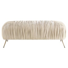 Gianfranco Ferré Home Rowe Pouf in Wood and Light Beige Fabric