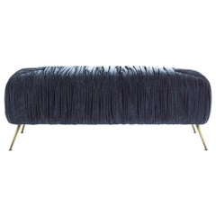 Gianfranco Ferré Home Rowe Pouf in Wood with Blue Velvet Cotton