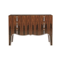 Gianfranco Ferré Home Royal Chest of Drawers in rosewood and details in leather