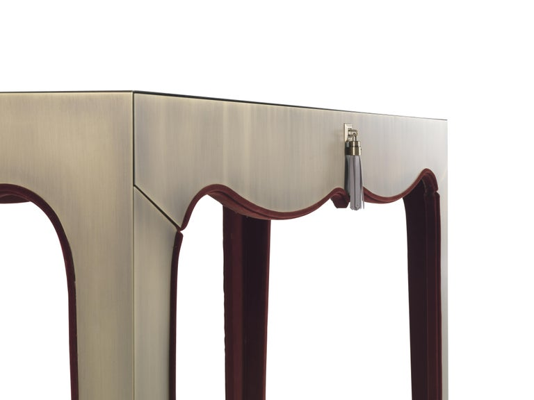 Italian Gianfranco Ferré Royal Dressing Table in Metal with Bronze Finish For Sale