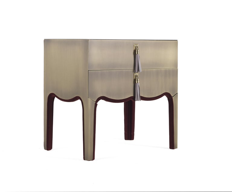 Italian Gianfranco Ferre Royal Night Table in Metal with Bronze Finish For Sale