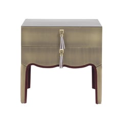 Gianfranco Ferré Home Royal Night Table covered in Metal with Bronze Finish