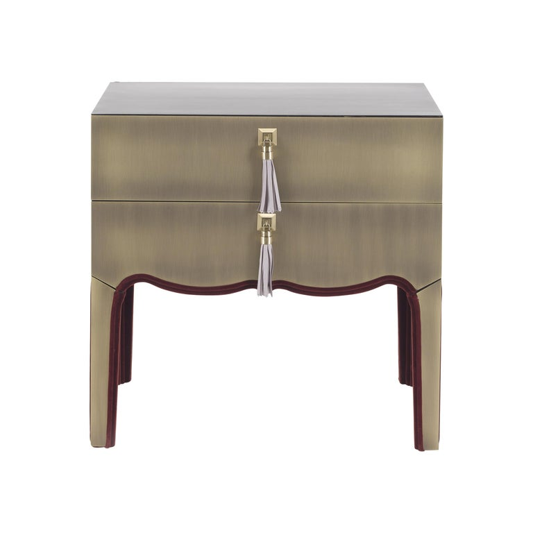 Gianfranco Ferre Royal Night Table in Metal with Bronze Finish For Sale