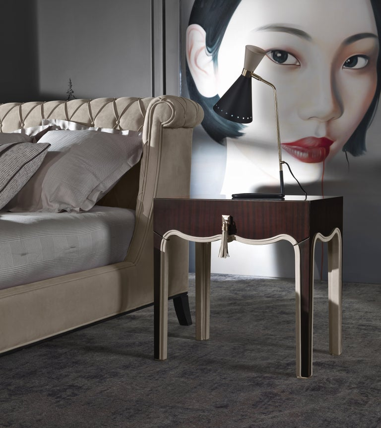 Italian Gianfranco Ferre Royal Night Table in Metal with Mahogany Finish For Sale
