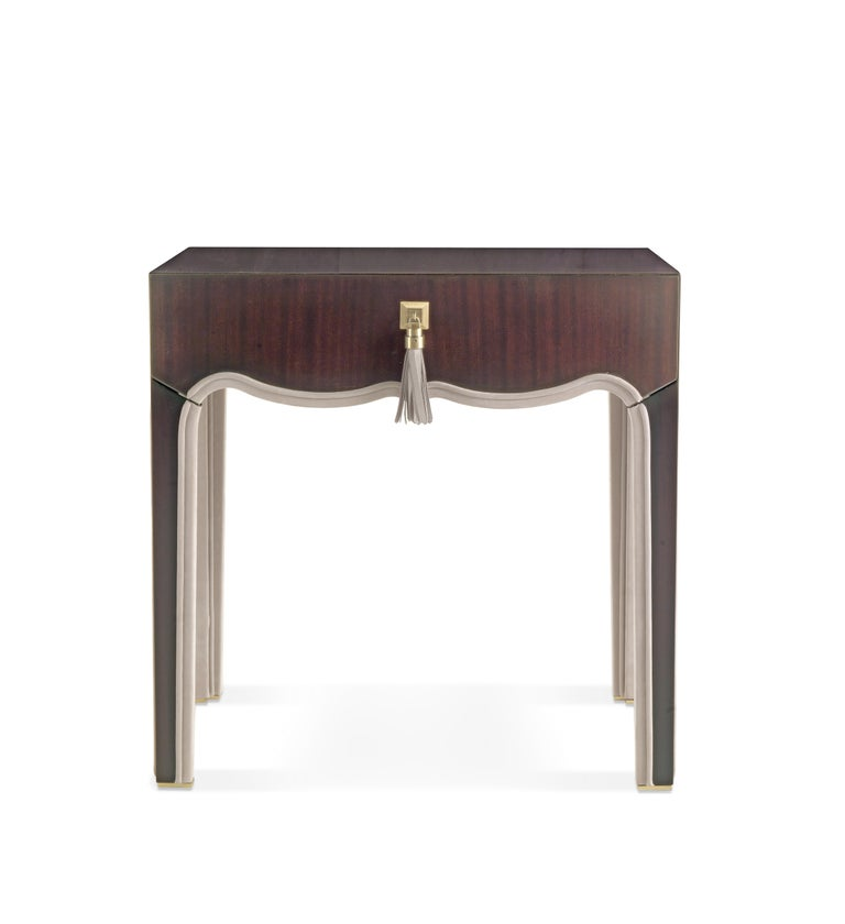 Gianfranco Ferre Royal Night Table in Metal with Mahogany Finish For Sale