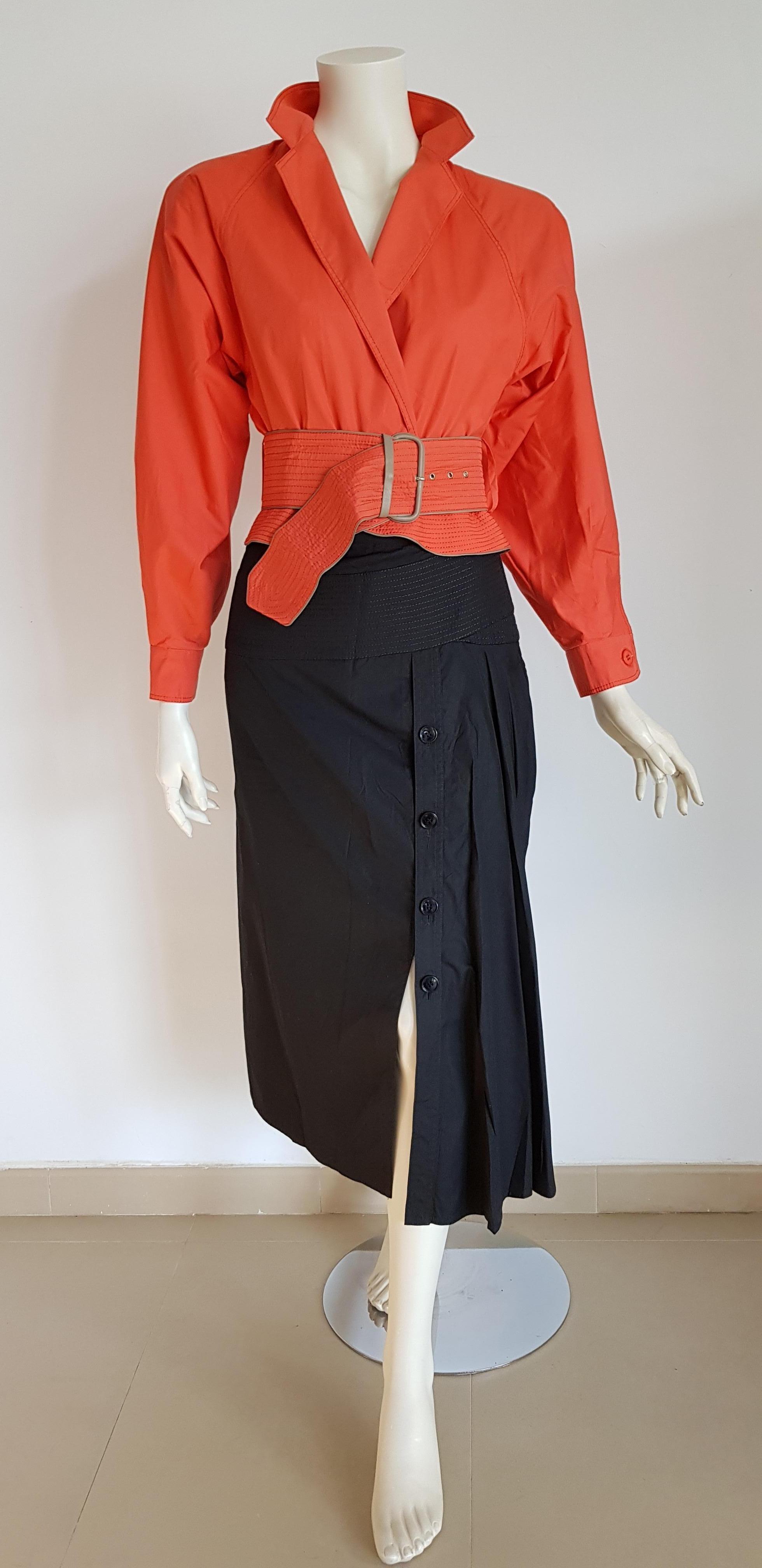 Gianfranco Ferre Single Piece Red Salmon Shirt Black Skirt Ensemble