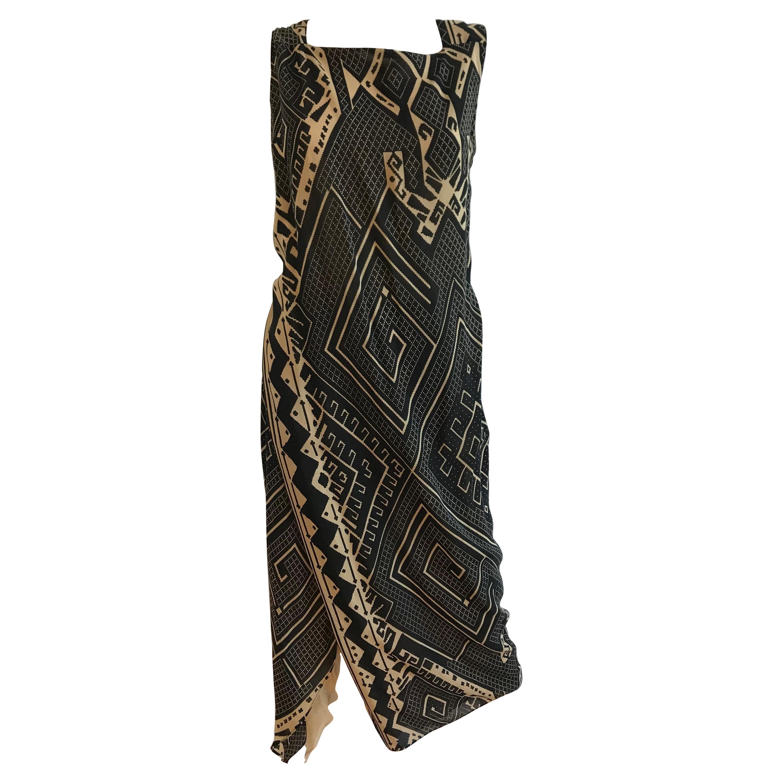 Gianfranco Ferre Silk Geometric Aztec Open Back Print Dress