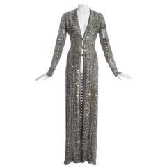 Gianfranco Ferre silver lurex embellished sequin cardigan dress, fw 1997